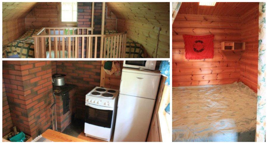 Hilla-mökin yläkerta, keittiö ja makuuhuone