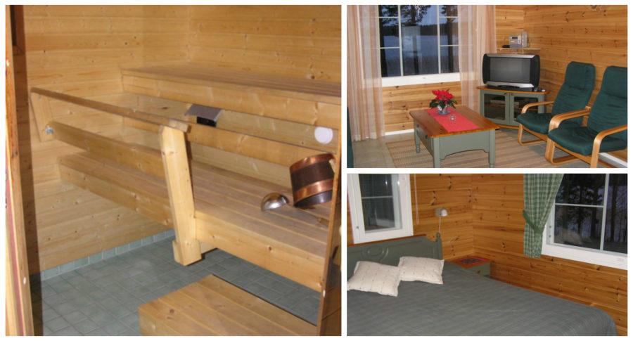 Kujanpää-mökin sauna, olohuone ja makuuhuone