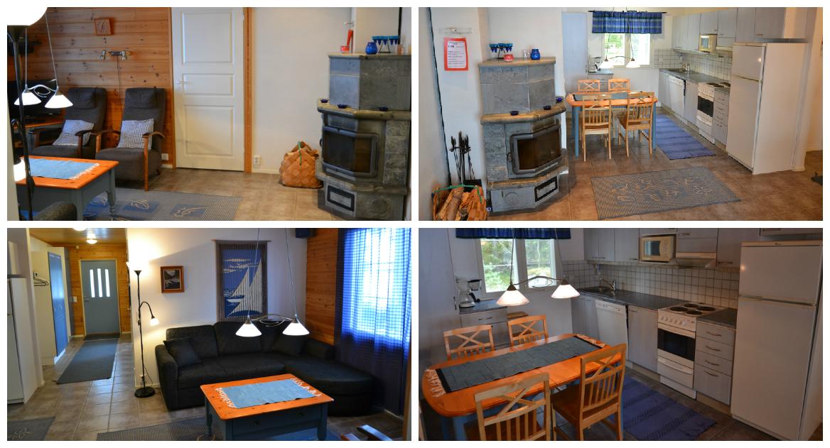 Sinikallio-mökin keittiö ja olohuone
