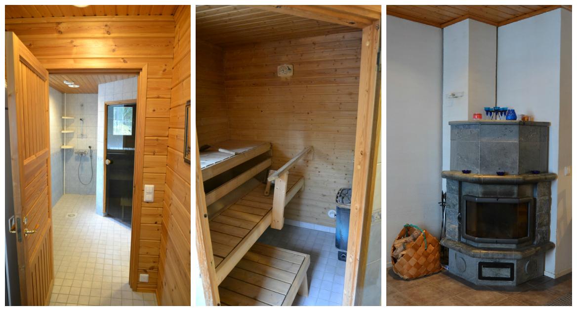 Sinikallio-mökin kylpyhuone, sauna ja takka