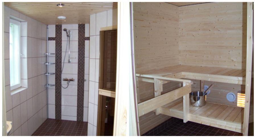 Suvituuli-mökin sauna ja kylpyhuone